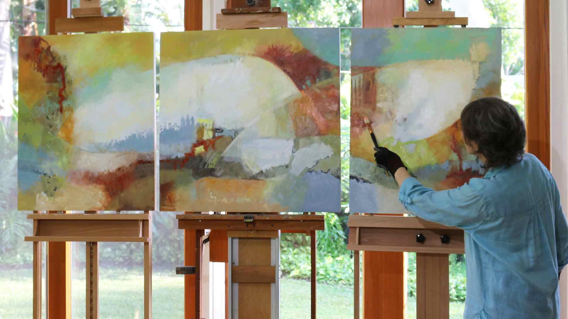 Painter Jade Gates at work.