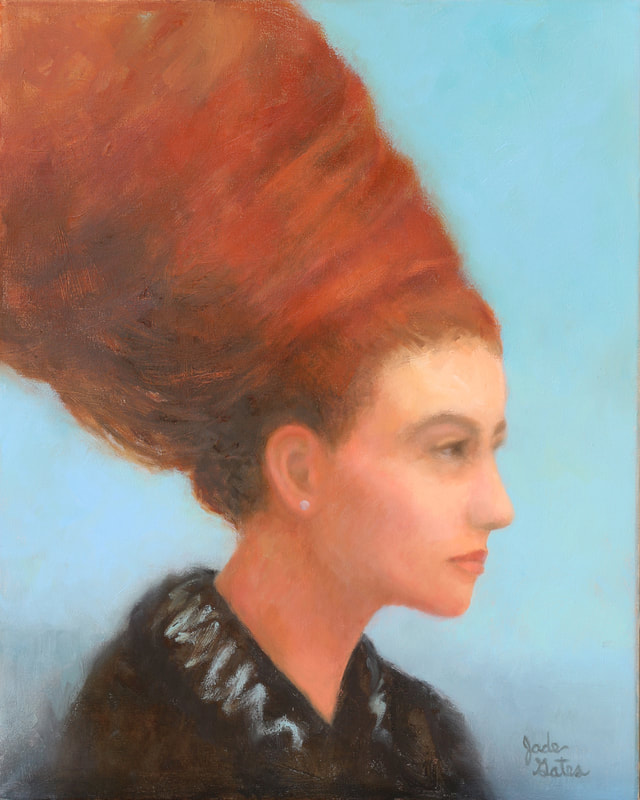 tranquil woman with a red  beehive hairdo