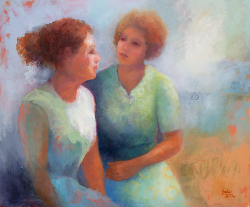 oil painting of women talking