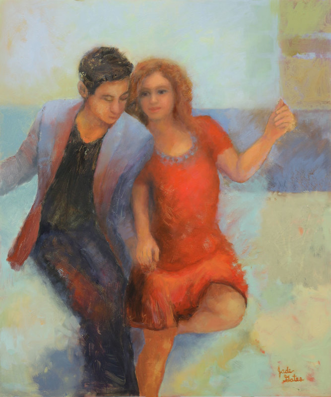 oil painting of couple dancing together