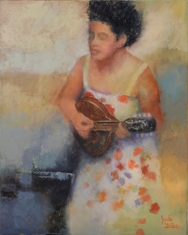 woman playing the mandolin