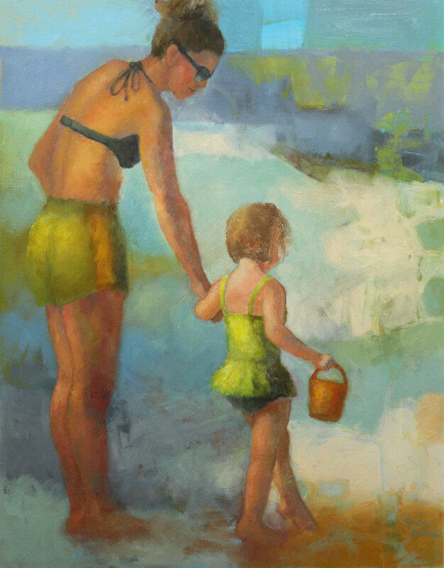 figurative oil painting by Jade Gates of mother and daughter at the beach