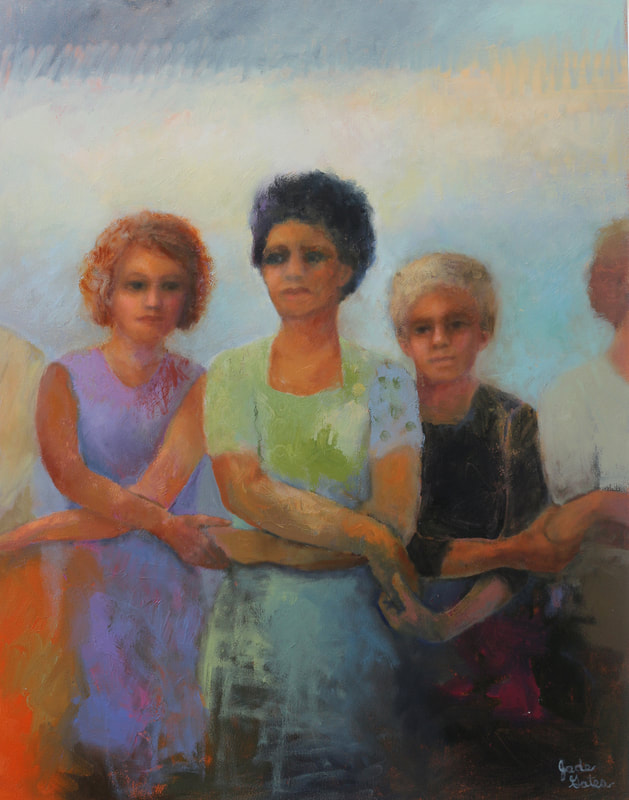 oil painting of women holding hands