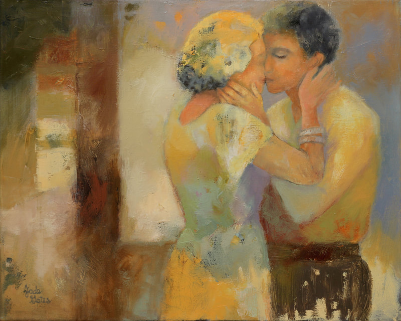 oil painting of couple kissing