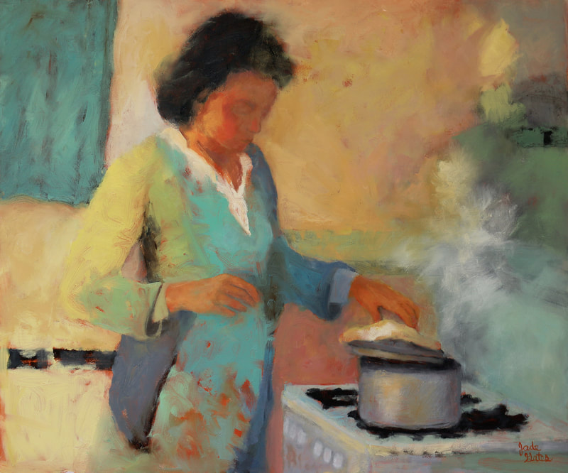 oil painting of woman in the kitchen