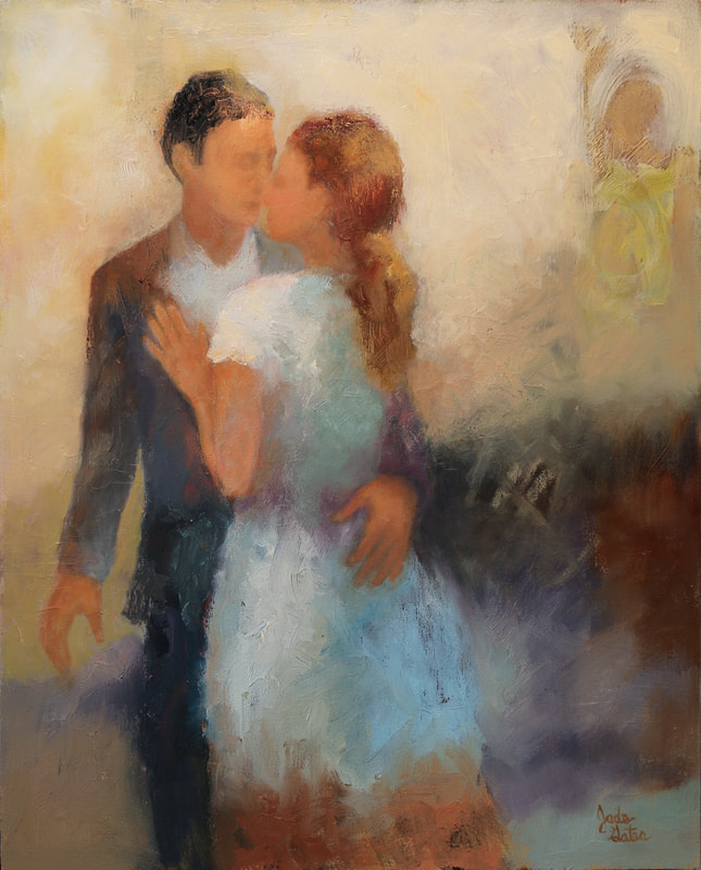 oil painting couple embracing in romance