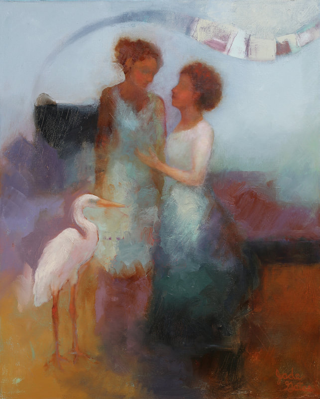 oil painting of 2 women talking and a heron standing in front of them
