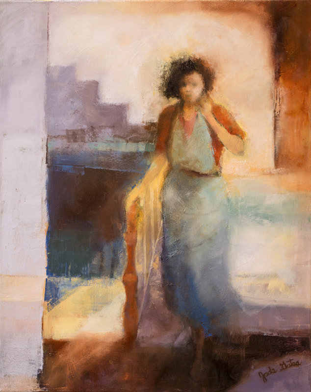 oil painting of woman standing at stair landing
