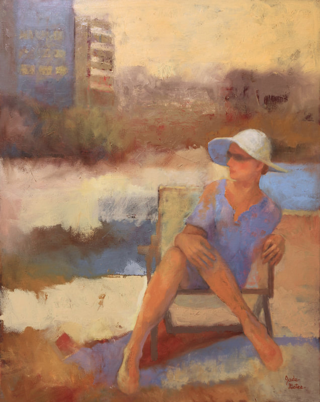 figurative oil painting of women sitting in chair wearing a white hat